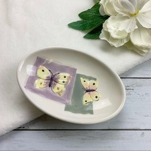 Handpainted Butterfly Patch Ceramic Soap Dish